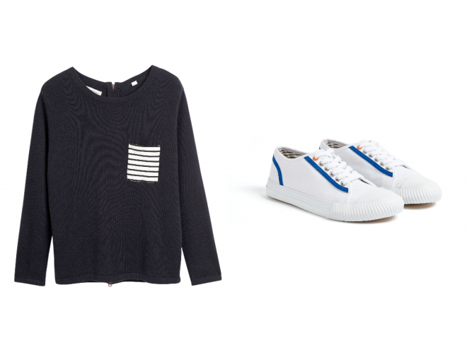 Fräulein Chinti & Parker Breton Trim Sweater Low Contrast Trim Trainers